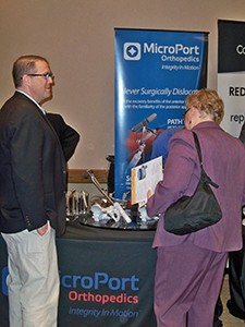 Exhibitors such as MicroPort Orthopaedics were able to enjoy breaks and lunch with physicians and practice managers.