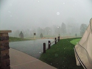 As you can see, the rain, thunder and lightning stopped play for nearly an hour...but you know golfers!