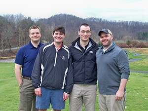 As soon as permitted, Drs. Andrew Hanselman,, Jesse Lewis, Jonathan Karnes and David McConda, four of WVU's orthopaedic residents, were back on the course.