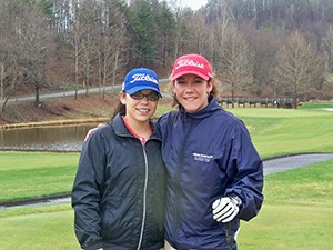 Exhibitors Felecia Jensen and Leah Opas worked on their improving golf skills, while enjoying the Dixon Challenge and golf at Stonewall Resort.