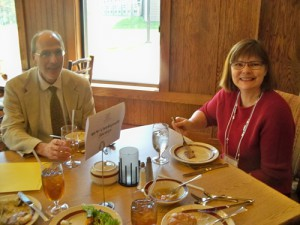 Nancy McKiney and a friend take time to visit during lunch on Saturday.