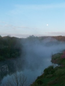 Saturday morning featured mist rising from the lake under a full moon in the breaking dawn.