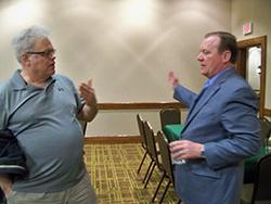 AAOS Councilor Greg Krivchenia and AAOS President David Teuscher find a few quite minutes to visit during Teuscher's first visit to West Virginia.