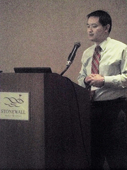 """""""Pathologic Long Bone Fractures: Case Examples,"""" presented by Felix Cheung, MD, Marshall University Department of Orthopaedics, concluded our morning talks and was followed by a Q & A session for all morning speakers."""
