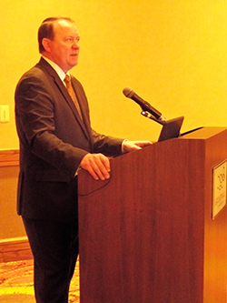 """AAOS President David Teuscher, MD, opened Saturday's session with a discussion of the """"Five Pillars of the AAOS."""""""
