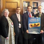 The 2017 WVOS delegation included, from left, Advocacy Chair Dr. Joe Prud'homme, Executive Director Diane Slaughter, CAE, APR, Immediate Past President Dr. Brett Whitfield, and (from right) AAOS Councilor Dr. Greg Krivchenia and Resident Dr. Dana Lycans.  During this visit with Congressman Jenkins, as with all Members of Congress we visited on April 27, we presented them with an AAOS poster on the opioid epidemic and discussed issues relating to electronic health records.